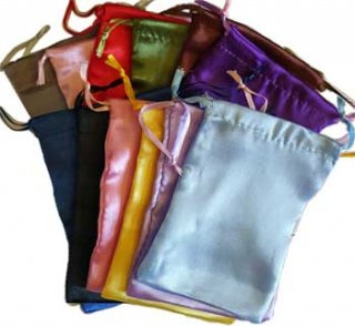 Mixed colors Satin Drawstring pouches   12 pk