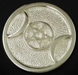 Silver Plated Triple Moon altar tile 3 1/2""